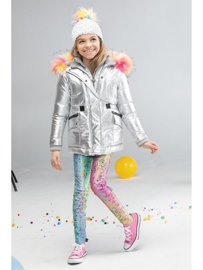 Girls Terez Rainbow Splatter Foil Leggings  rbw alt2
