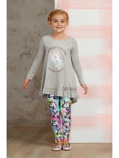 Girls Terez Unicorn Leggings  lav alt1
