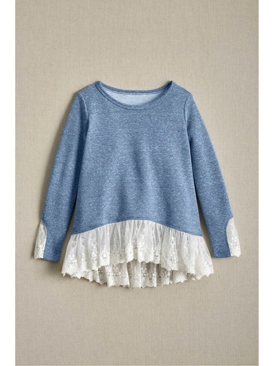 Girls Terry & Lace Top  lbl alt1