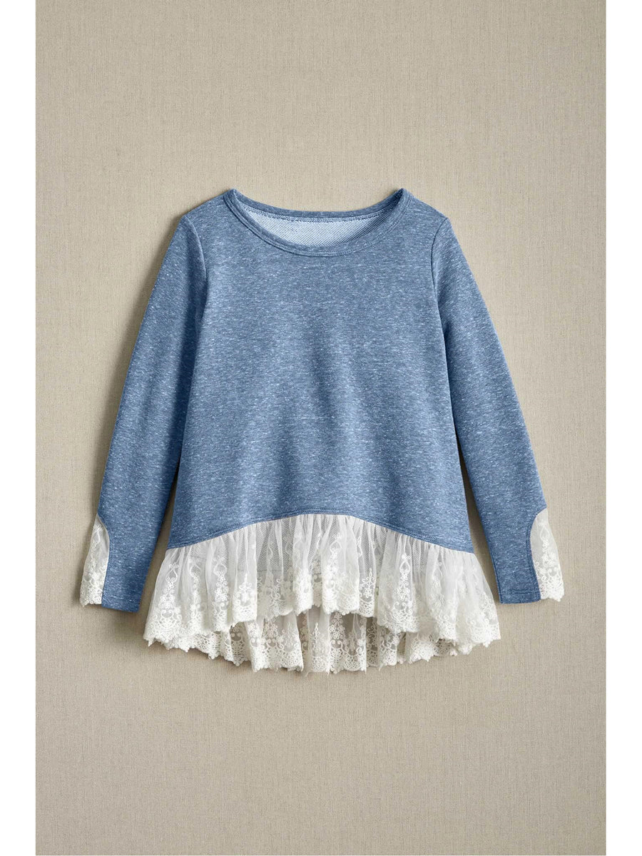 Girls Terry & Lace Top