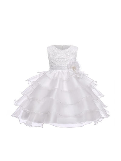 Girls Tiered Dress  white alt1