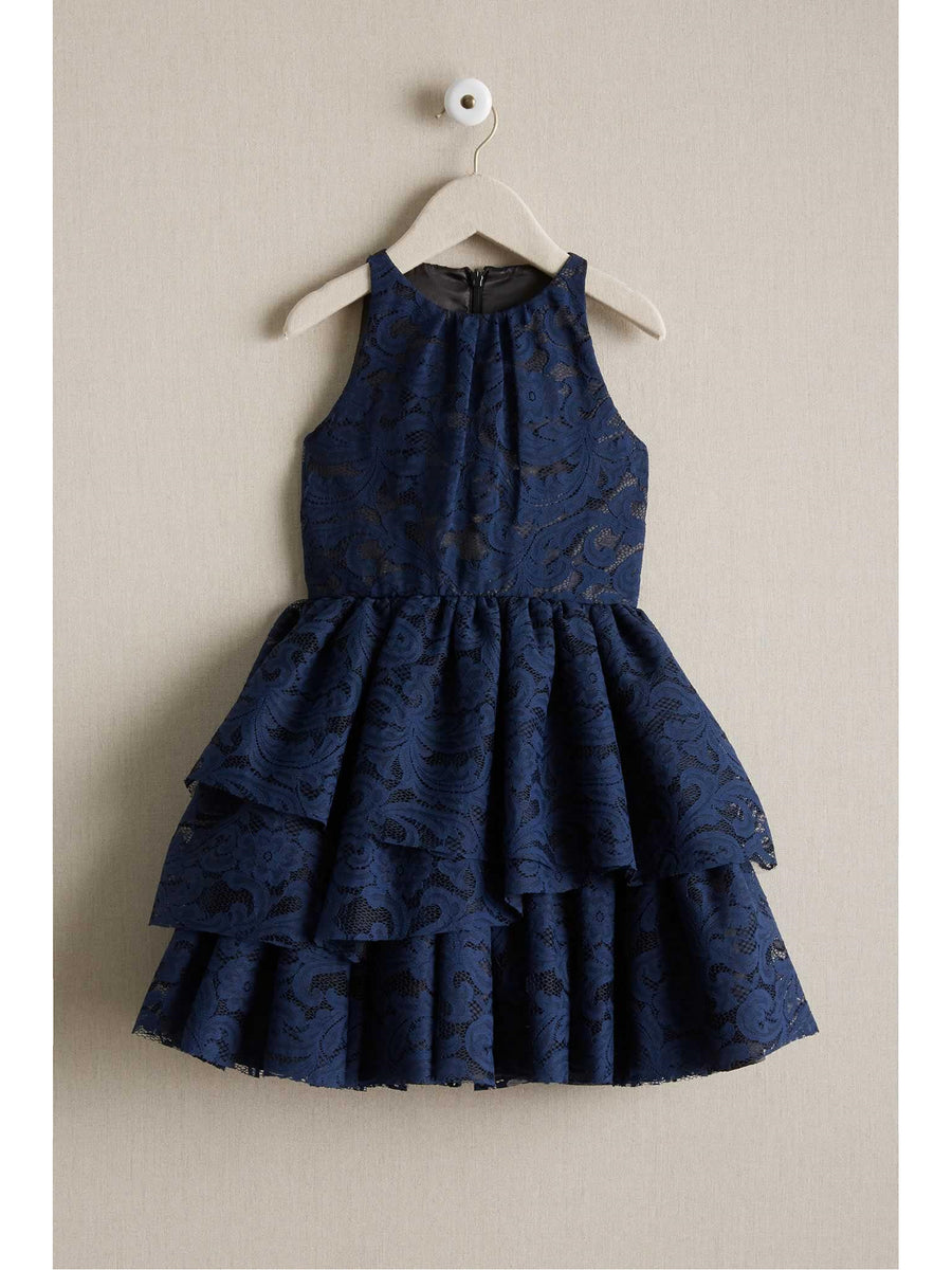 Girls Tiered Lace Dress