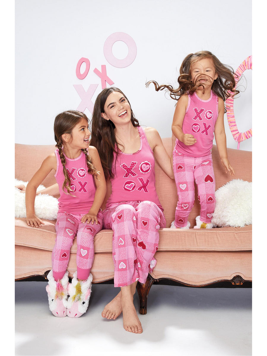 Girls Valentine Plaid PJ's