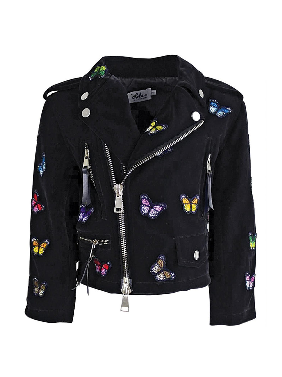 Girls Velvet & Butterflies Moto Jacket