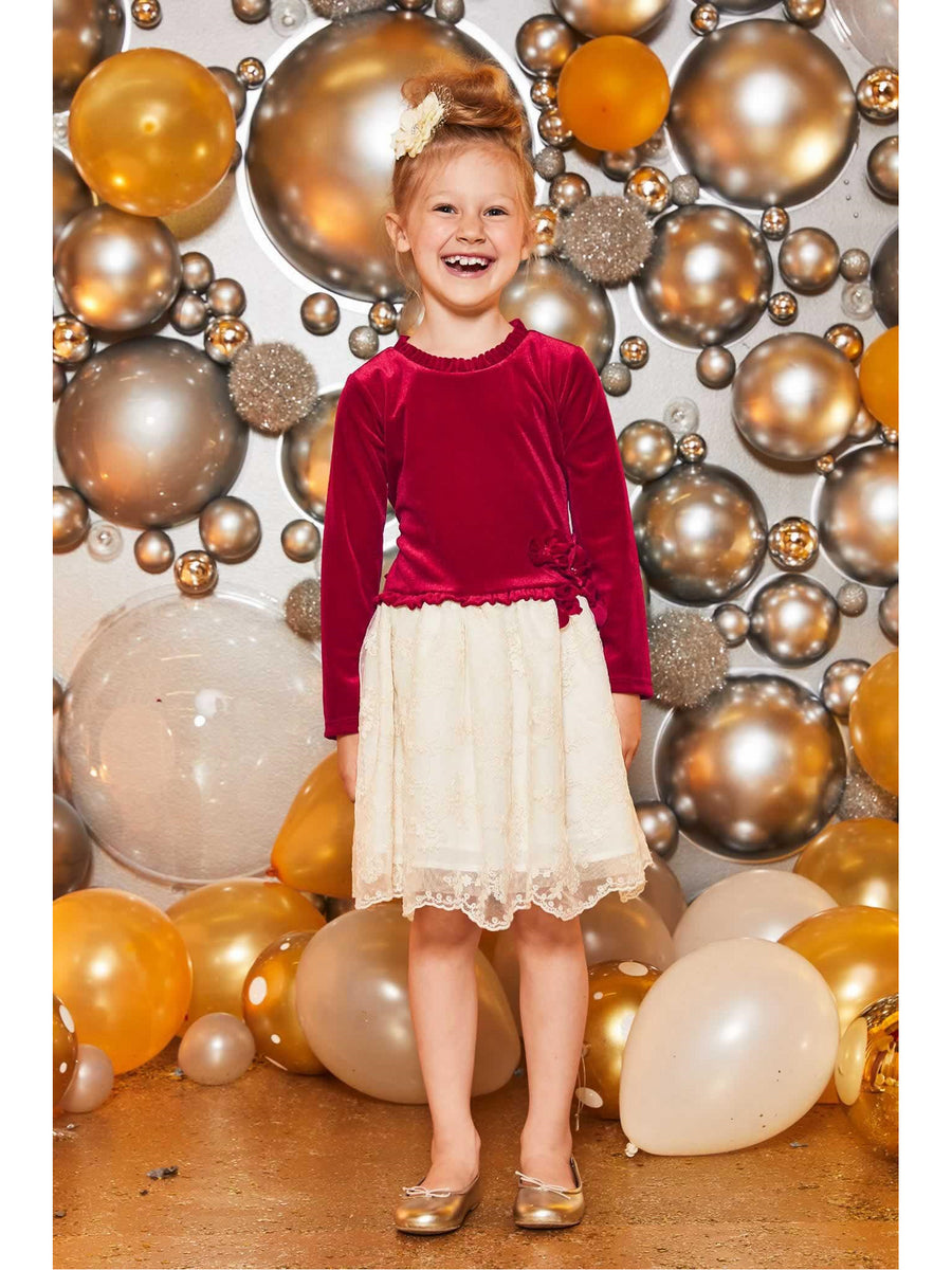 Girls Velvet & Lace Dress
