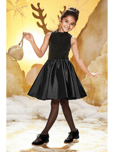 Girls Velvet & Taffeta Dress  bla alt1