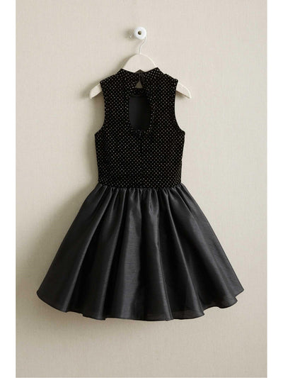 Girls Velvet & Taffeta Dress  bla alt2