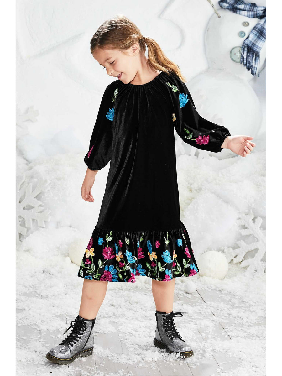 Girls Velvet Bouquet Dress