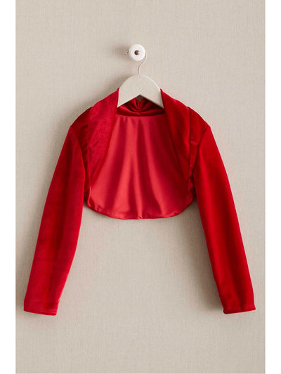 Girls Velvet Dress-Up Shrug  red 1