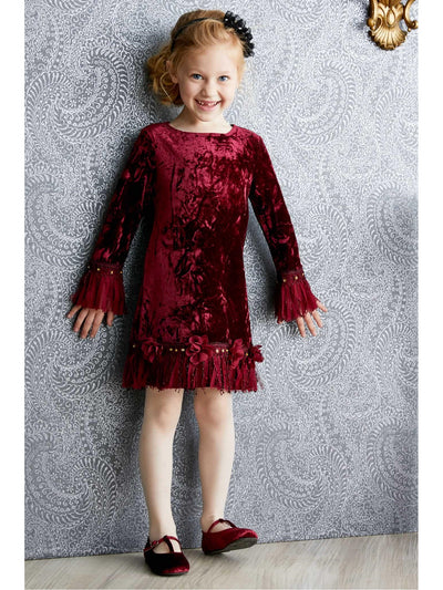 Girls Velvet Fringe Dress  bur alt1