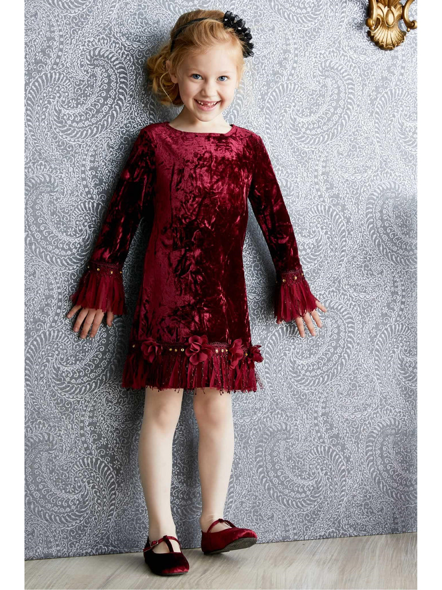 Girls Velvet Fringe Dress