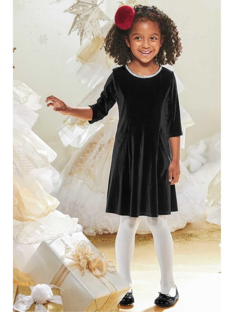 Girls Velvet Jewel Dress