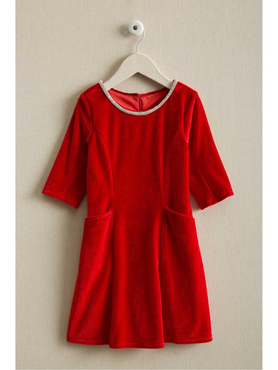 Girls Velvet Jewel Dress  red 1
