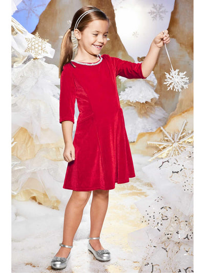 Girls Velvet Jewel Dress  red alt1