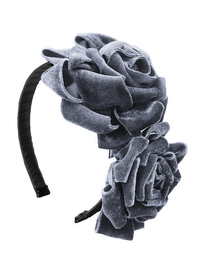 Girls Velvet Roses Headband  slv 1