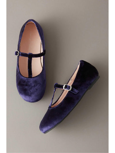Girls Velvet T-Strap Shoes  nav 1