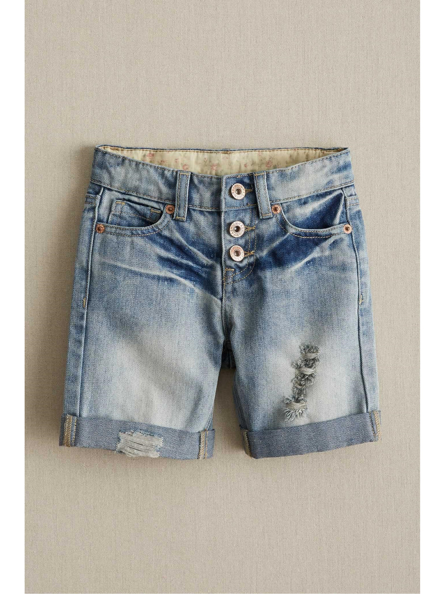 Girls Vintage Denim Cuffed Shorts