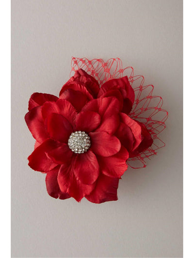 Girls Vintage Flower Hairclip  red 1