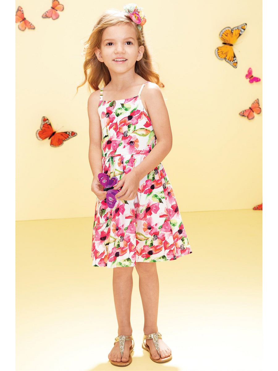 Girls Watercolor Floral Bow-Back Dress