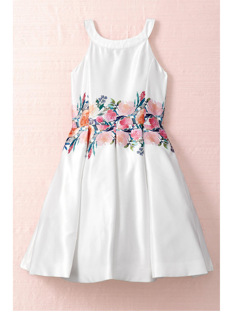 Girls Watercolor Floral Waist Dress