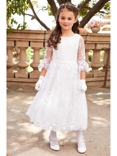 Girls White Flowers Embellished Dress