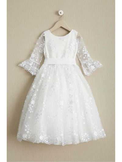 Girls White Flowers Embellished Dress  whi alt1