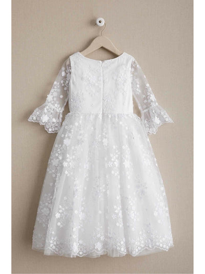 Girls White Flowers Embellished Dress  whi alt2