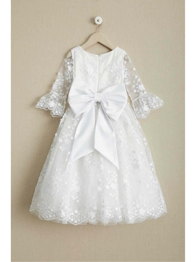 Girls White Flowers Embellished Dress  whi alt3