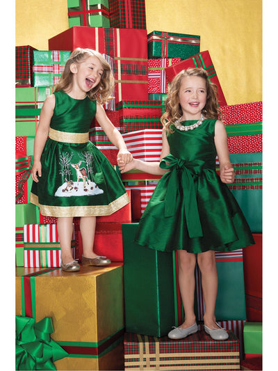 Girls Winter Fawn Dress  green alt1