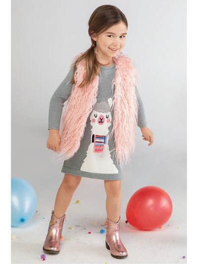 Girls Winter Llama Sweater Dress