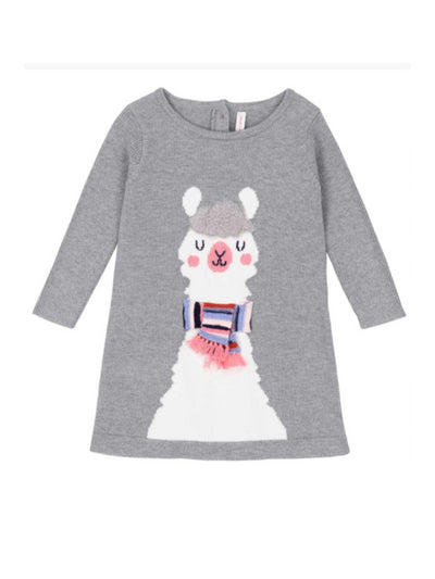 Girls Winter Llama Sweater Dress  grey alt1