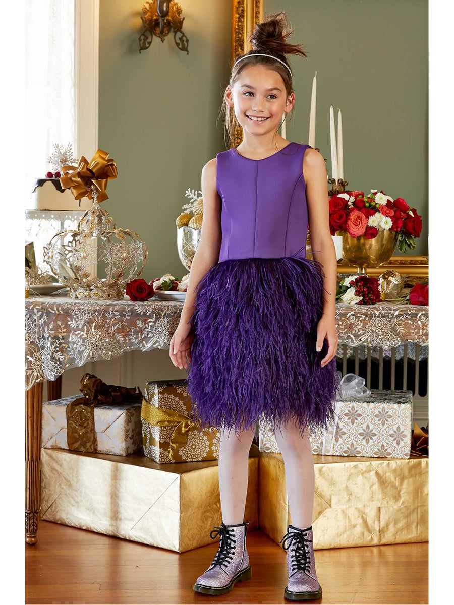 Girls Zoe Feather Fun Dress