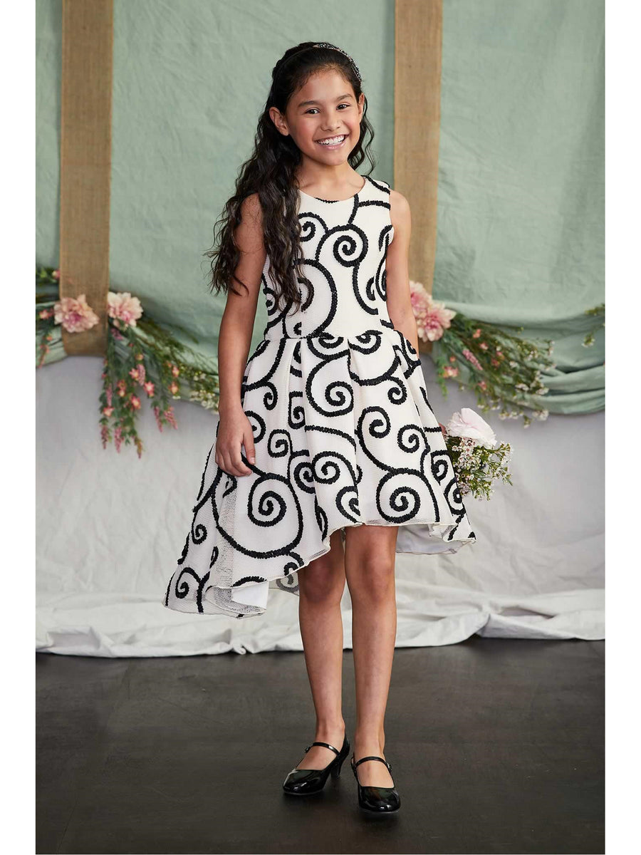 Girls Zoe Ribbon Swirl Dress
