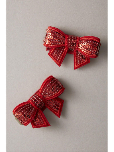 Girls Glitter Bow Barrettes (Set of 2)  red 1