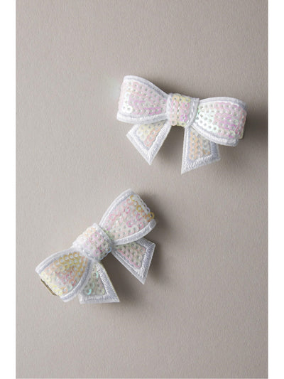 Girls Glitter Bow Barrettes (Set of 2)  whi 1