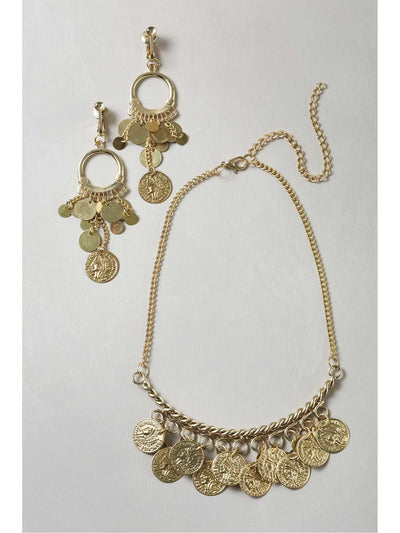 Gold Coin Necklace & Earrings  nc 1