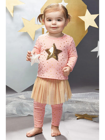 Golden Star Top & Tutu Leggings For Baby