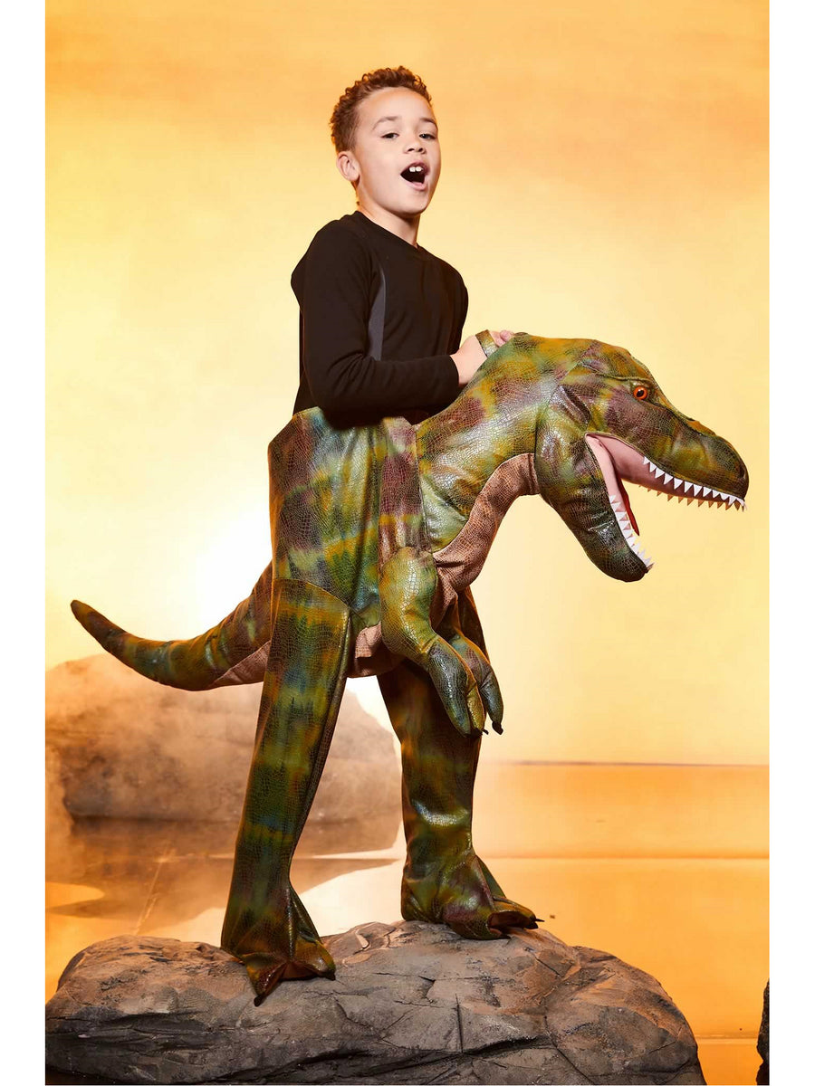 Green Ride-In Dinosaur Costume for Kids