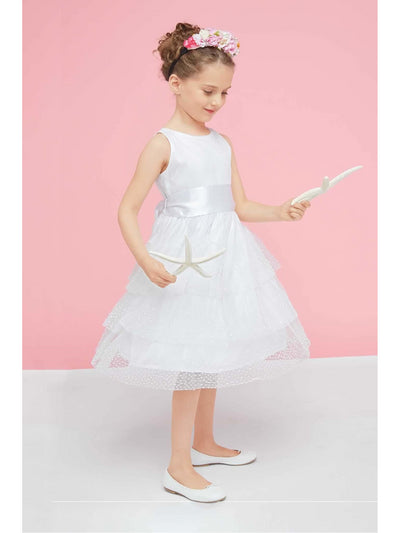 Isabel Garreton Girls Beaded Pearls Dress  whi alt1