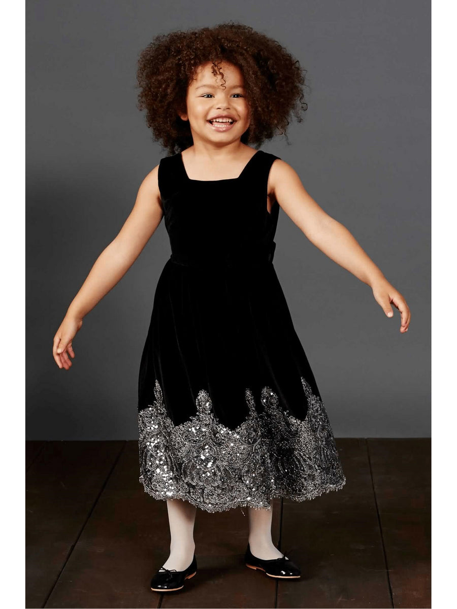 Girls Isabel Garreton® Bejeweled Velvet Dress