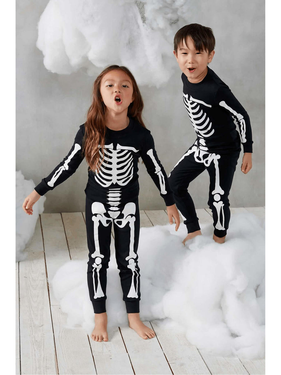 Kids Black Glow-in-the-Dark Sleepy Skeleton Pajamas