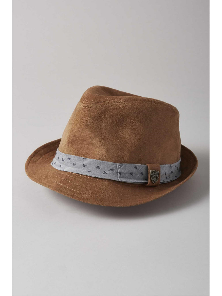 Kids Brown Suede Fedora