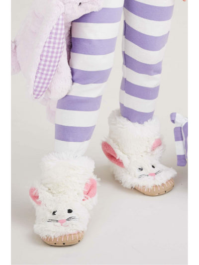 Kids Fluffy Bunny Slippers  whi alt1