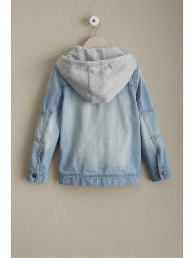 Kids Hooded Denim Jacket  den alt1