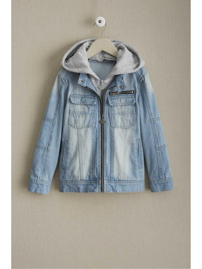 Kids Hooded Denim Jacket  den alt2