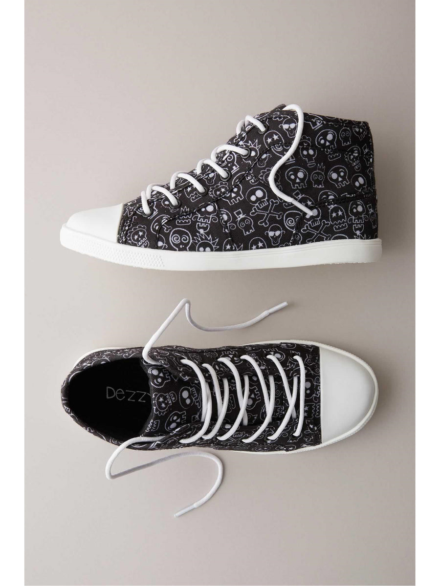 Kids Punk Skull High-Top Sneakers