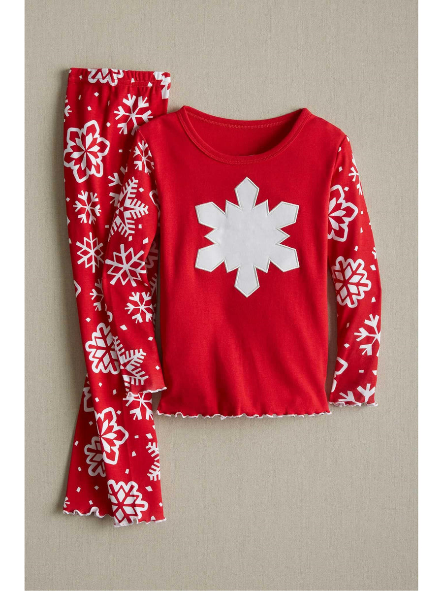 Kids Red Snowflake Pj's