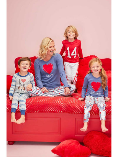 Kids Valentine Football PJ's  red alt1