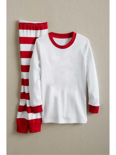 Kids White & Red Striped PJ's