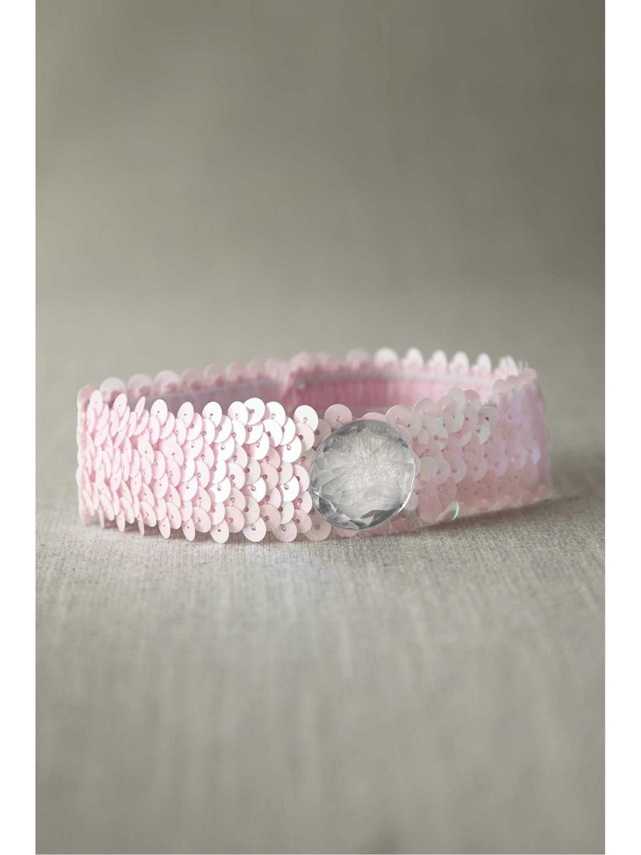 Light Pink Sequin Choker with Clear Stone